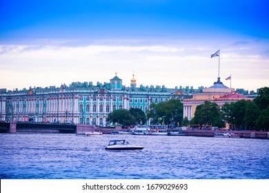 Winter Palace or Zimnij dvorets in Saint Petersburg over River Neva, Russia view from University embarkment - Shutterstock ID 1679029693