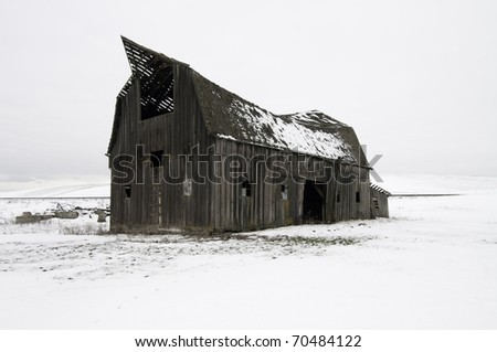 WInter in Palouse snow all around this old barn that is ready to collapse.