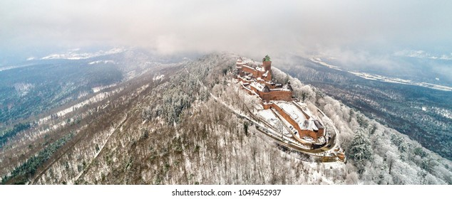 Winter panorama of the Chateau du Haut-Koenigsbourg in the Vosges mountains. A major tourist attraction in Alsace, France