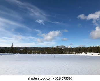 Winter panorama in Czech mountains