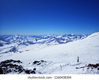 Winter panorama of Elbrus Mountain and Caucasus in Russia. Winter ski sports in Elbrus, Russia