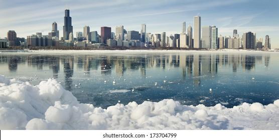 Winter panorama of frozen Chicago.