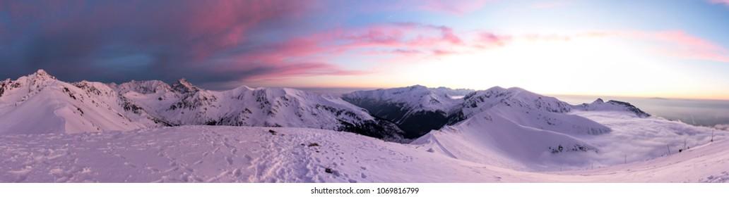 winter panorama from Kasprowy Wierch, Zakopane, Poland, Polish Tatra mountains