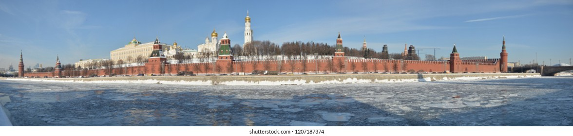 Winter panorama of the Kremlin embankment in Moscow. The February cityscape of the Russian capital.