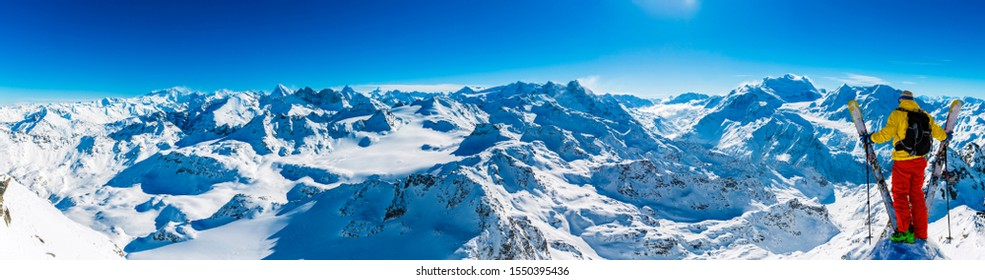 Winter panorama landscape from Mont Fort and famous Matterhorn, Dent d'Herens, Dents de Bouquetins, Weisshorn; Tete Blanche in the background, Verbier, 4 Valleys,