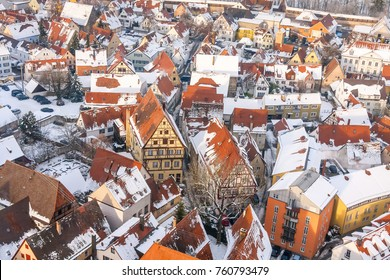 "Winter panorama of medieval town within fortified wall. Top view from ""Daniel"" tower. Nordlingen, Bavaria, Germany."