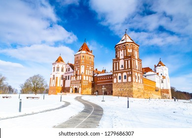 The winter panorama of the Mir Castle Complex, Minsk Region, Belarus