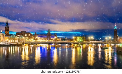 winter panorama of the night Stockholm, Sweden