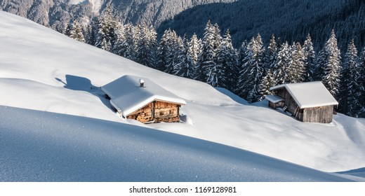 Winter panorama with ski huts in the Zillertal Tyrol