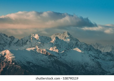 winter panorama of snowy Tatra mountains in the morning, Poland