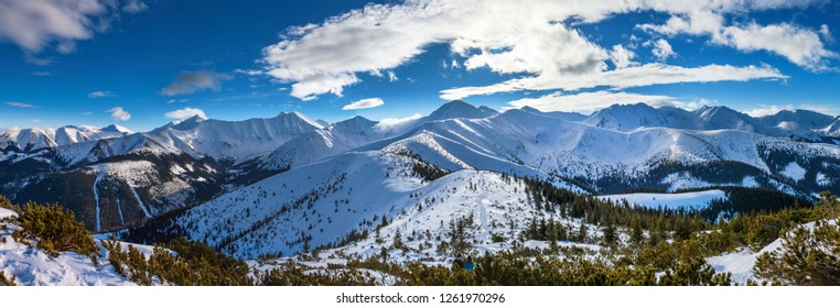 Winter panorama of the Western Tatras, view from Grzes peak to Wolowiec and nearby peaks