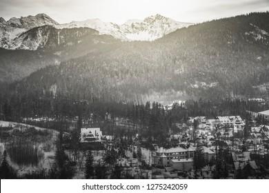 Winter panorama of Zakopane in B&W. Zakopane, Lesser Poland, Poland.
