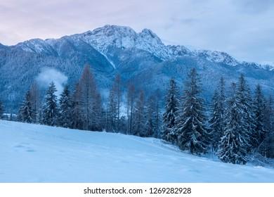 Winter panorama of Zakopane with Giewont. Zakopane, Lesser Poland, Poland.