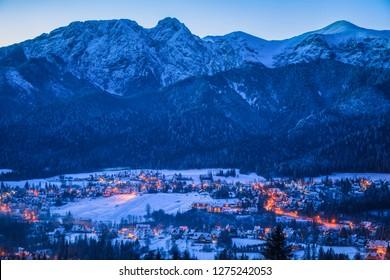 Winter panorama of Zakopane and Giewont. Zakopane, Lesser Poland, Poland.