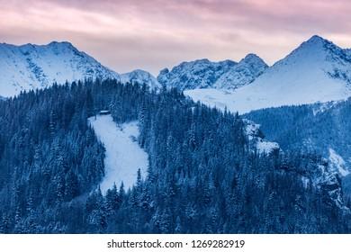 Winter panorama of Zakopane. Zakopane, Lesser Poland, Poland.