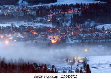 Winter panorama of Zakopane Poland.