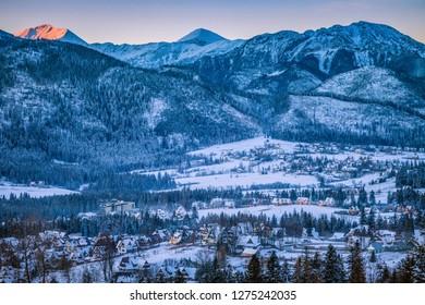 Winter panorama of Zakopane at sunrise. Zakopane, Lesser Poland, Poland.
