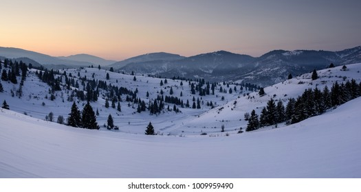 Winter panoramic landscape at blue hour. Sunset Landscape Panorama.