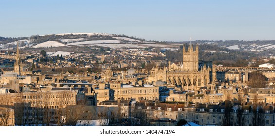 Winter panoramic showing the city of Bath and surrounding countryside in  England, UK.