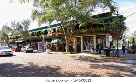 WINTER PARK, FLORIDA, USA:  Retail stores on South Park Avenue in downtown Winter Park as seen on January 26, 2020.