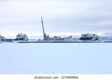 Winter parking of cargo ships in the port.Lake Onega the city of Petrozavodsk