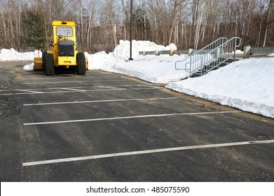 winter parking lot with snow removed