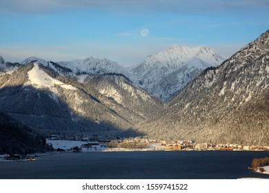 winter in Pertisau, lake Achensee,