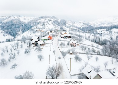 Winter in Pestera Village in the Rucar Bran Pass, the Carpathians, Romania