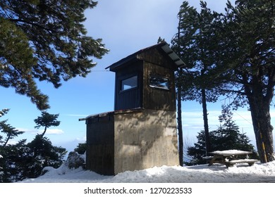 Winter photo from lookout station in famous Parnitha mountain covered up in snow, Attica, Greece