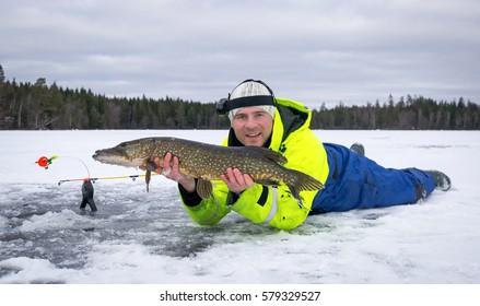 Winter pike fishing hobby