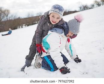 Winter playing children