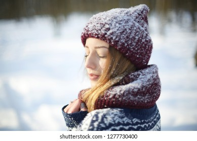 winter portrait of a beautiful girl