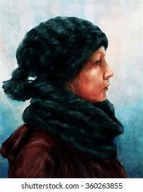Winter portrait of a woman Watercolor style portrait of a woman, dressed in winter clothes.