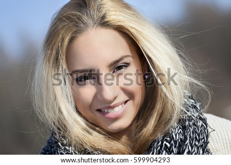 eabb288c7 Winter Portrait Young Blonde Woman Outdoors Stock Photo (Edit Now ...