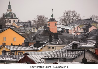 Winter Porvoo city. It is situated on the southern coast of Finland approximately 50 kilometres east of Helsinki.