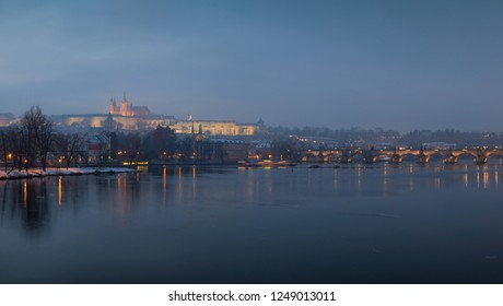 Winter Prague Lesser Town with gothic Castle with Charles Bridge