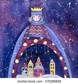 Winter Queen defense a town from snow. Watercolor illustration.