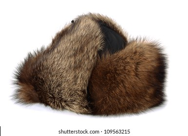 b9322ff8fe9 Winter raccon fur hat isolated on white