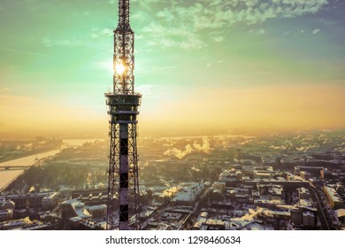 Winter radio tv tower in Sankt-Petersburg, Russia