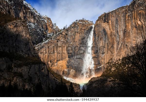 Winter Rainbow on Yosemite Falls, Yosemite National Park, California