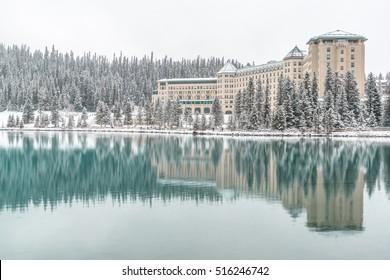 Winter reflection over Lake Louise Banff National Park Alberta Canada