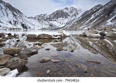 Winter reflections at Convict Lake in eastern Sierra Nevada mountains, California