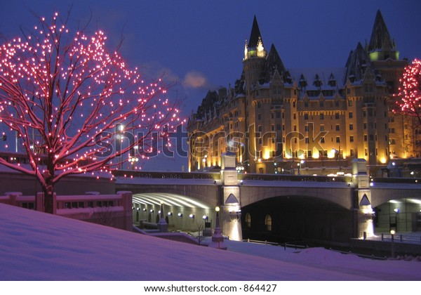 Winter at the Rideau Canal and Chateau Laurier Hotel in Ottawa
