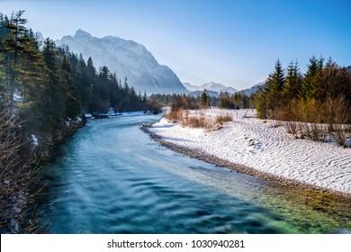 Winter, river Isar in Bavaria, Germany