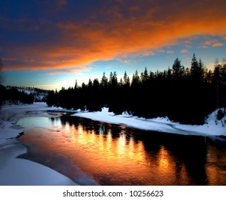 winter river scenery from Lapland in the north of sweden