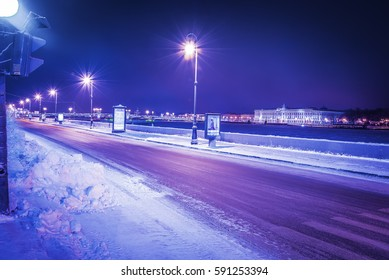 Winter road along the waterfront