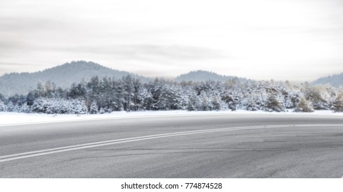 Winter road. Background of free space for your decoration.