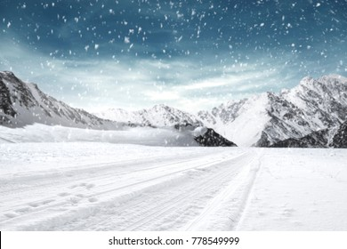 Winter road background and free space for your decoration
