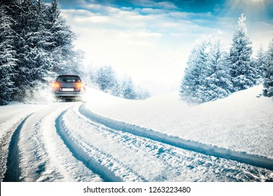 Winter road and car