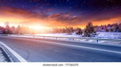 Winter road and free space for your decoration.